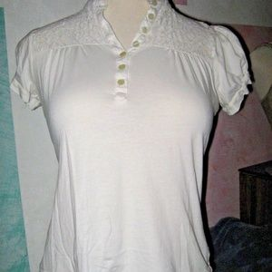 Off White Crochet Upper Button V Neck Stretch Top